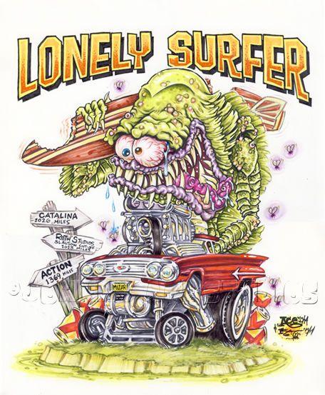 Johnny Ace Original Art Rat FINK Monster Roth SURF CREATURE 60 Chevy El Camino…