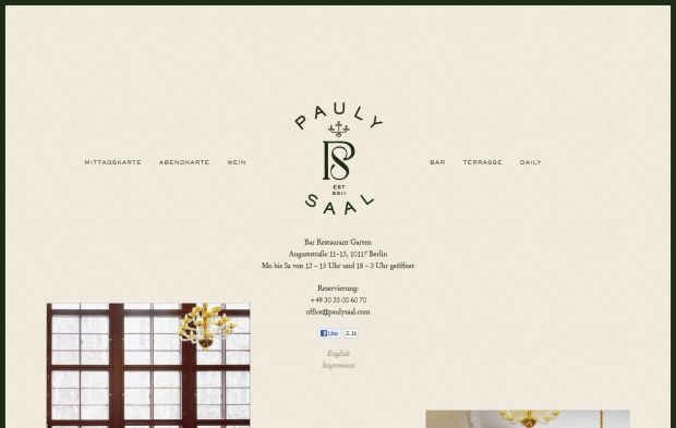 Pauly Saal Berlin Bar Restaurant Garden Webdesign Inspiration Www Niceoneilike Com Website Inspiration Web Design Inspiration Web Design