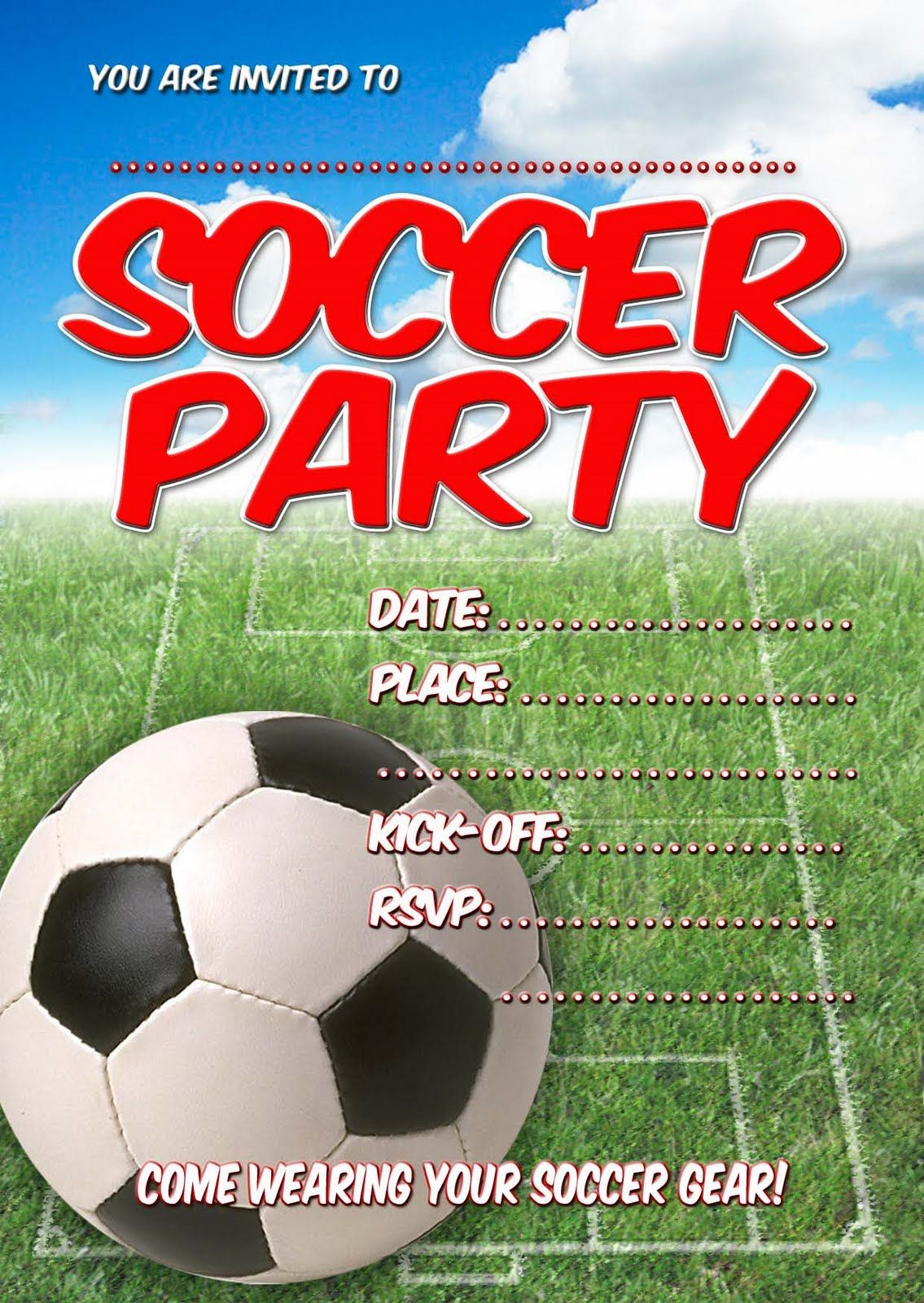 birthday party invitation templates printable red soccer kids party invitations