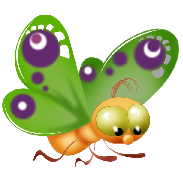 Cute Butterfly Cartoon Clip Art Images On A Transparent Background ...