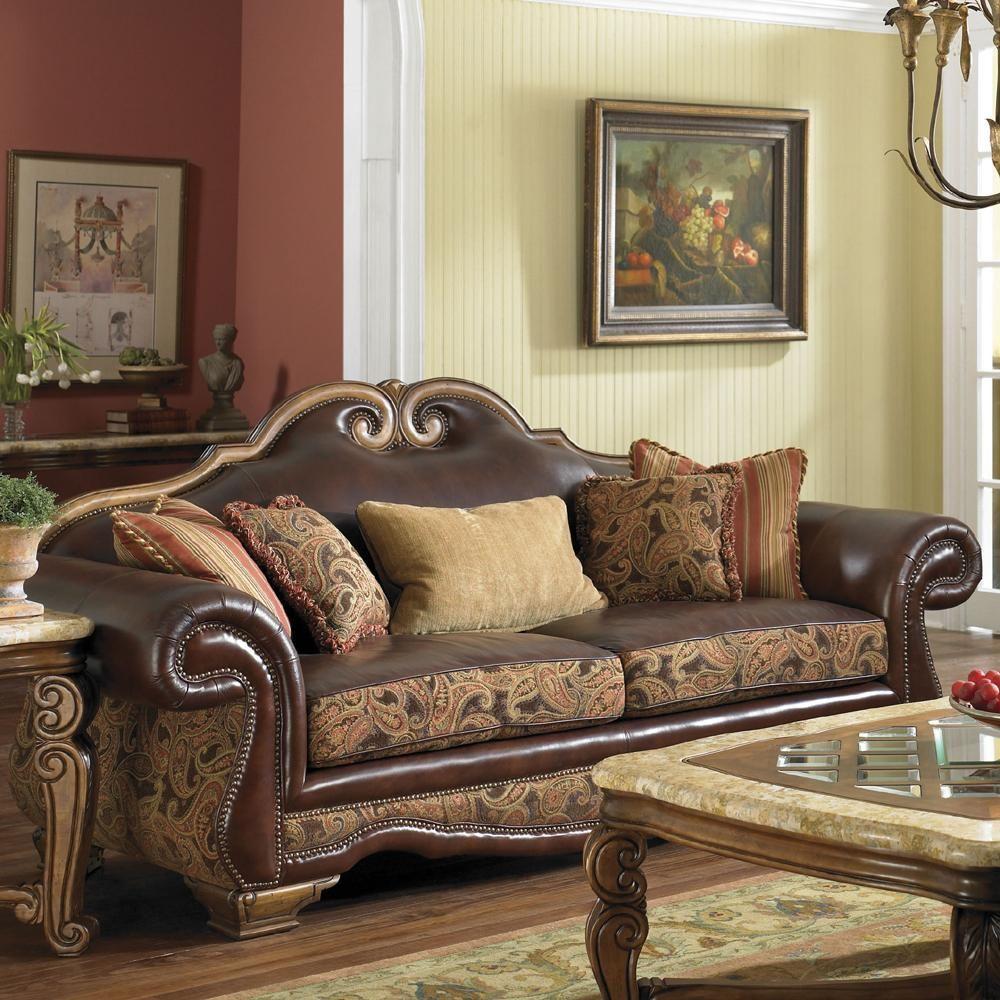 Tuscano Leather/Fabric High Back Sofa By Aico Amini Innovation Howells 97 W  41 D