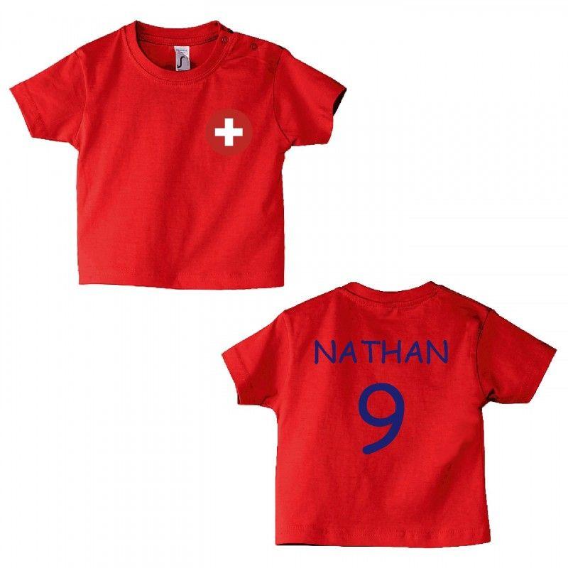 #Teeshirt bébé #football , equipe suisse à personnaliser en ligne :  http://www.bebe-abord.com/tee-shirt-motif-foot/436-t-shirt-bebe-equipe-suisse.html