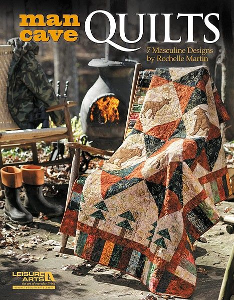 Man Cave Quilts  - Treat your sports fan or outdoorsman to a generous lap throw that also makes a large wall hanging for his favorite retreat. Among these masculine designs, you'll find the quilt he would choose for himself! There are themes to please the hunter or fisherman; the football, hockey, or speedway fan; and the nature or maritime enthusiast. He will be amazed that you created a quilt just for him. But you'll know how much fun you had while relaxing with piecing and applique…