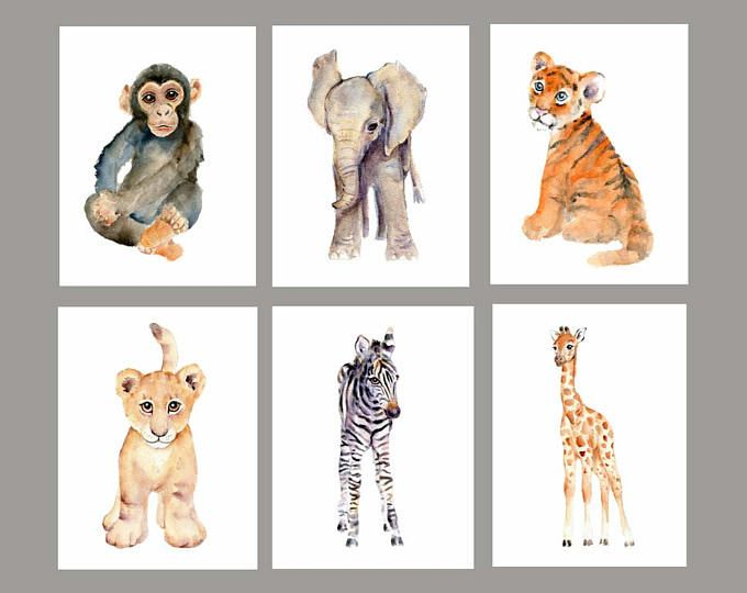 Baby Wall Art Nursery Print Set Safari Animals Watercolor Watercolor Nursery Art Baby Anim Watercolour Nursery Art Nursery Animal Prints Watercolor Nursery