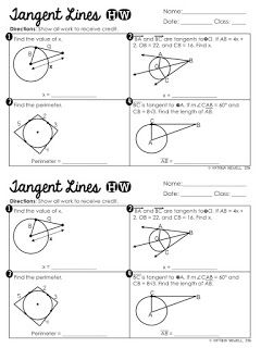 FREE Tangent lines to a circle properties foldable with