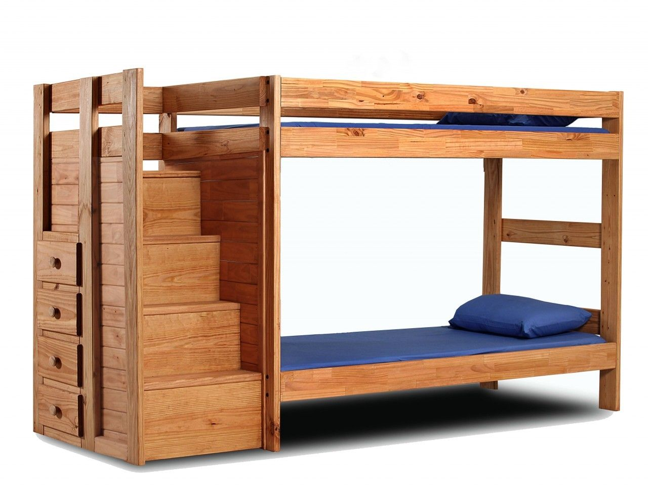 Twin Twin Staircase Bunk Bed Solid Pine Gothic Cabinet Craft Bunk Beds Bunk Beds With Stairs Wooden Bunk Beds
