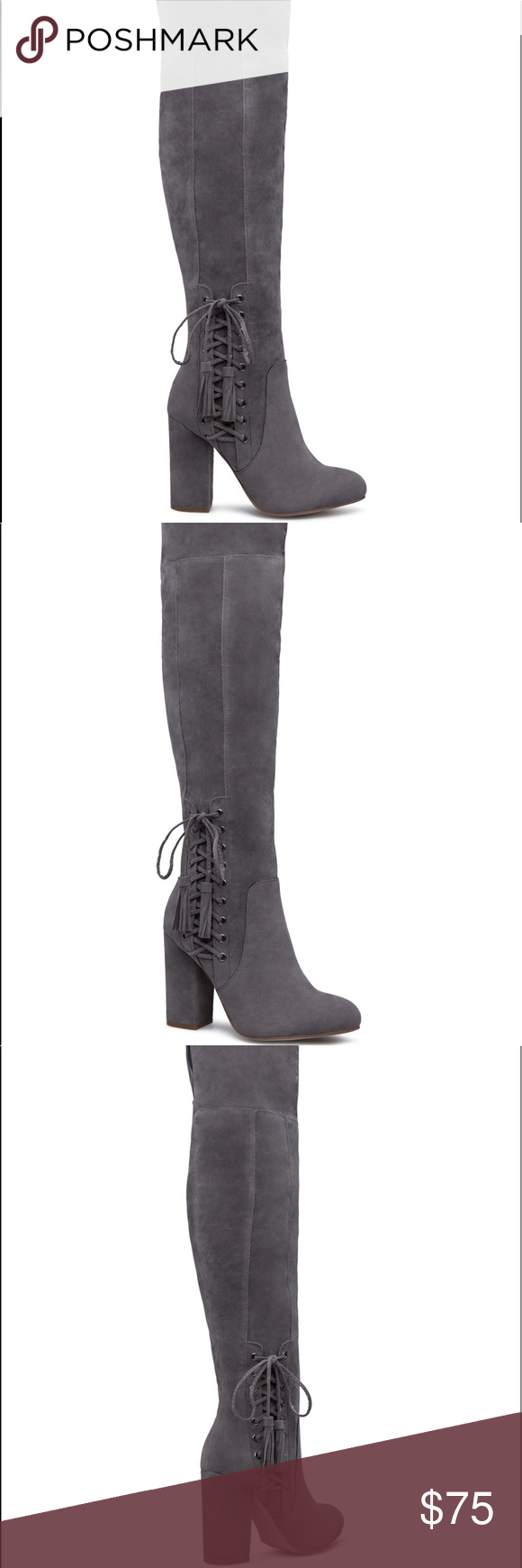 4123b908c5e HEDDA CORSET HEELED BOOT MATERIAL  Faux-suede. Imported. COLOR  GREY SIZING