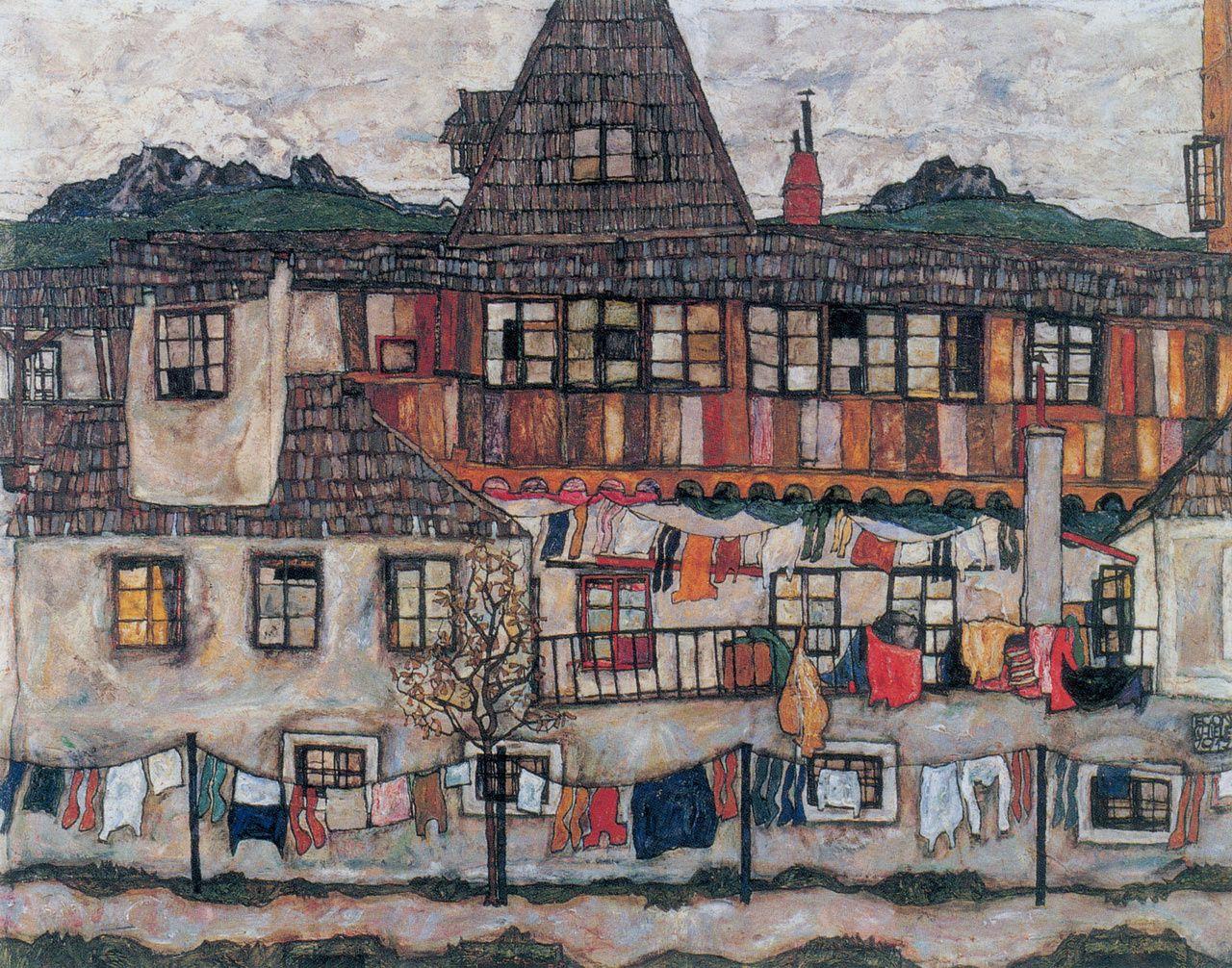 Haus, Naive Malerei, Leben, Wäscheleinen, Expressionismus,  Stadtlandschaften, Kunstwerk, Google Suche, Künstler