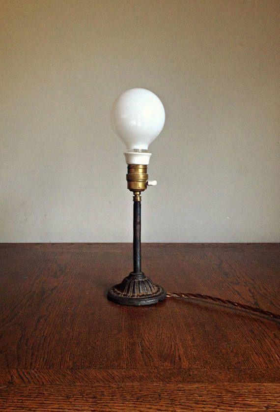Antique french art deco lamp rustic lamp porcelain lamp