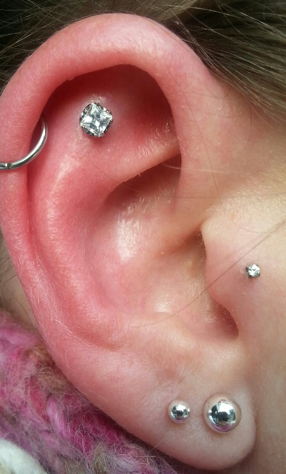 Double lobe piercing ideas  Cartilage helix tragus and lobe  piercings  Pinterest  Tragus