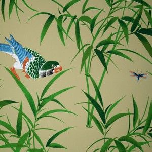Bob Collins and Sons Beige Bamboo & Birds Wallpaper
