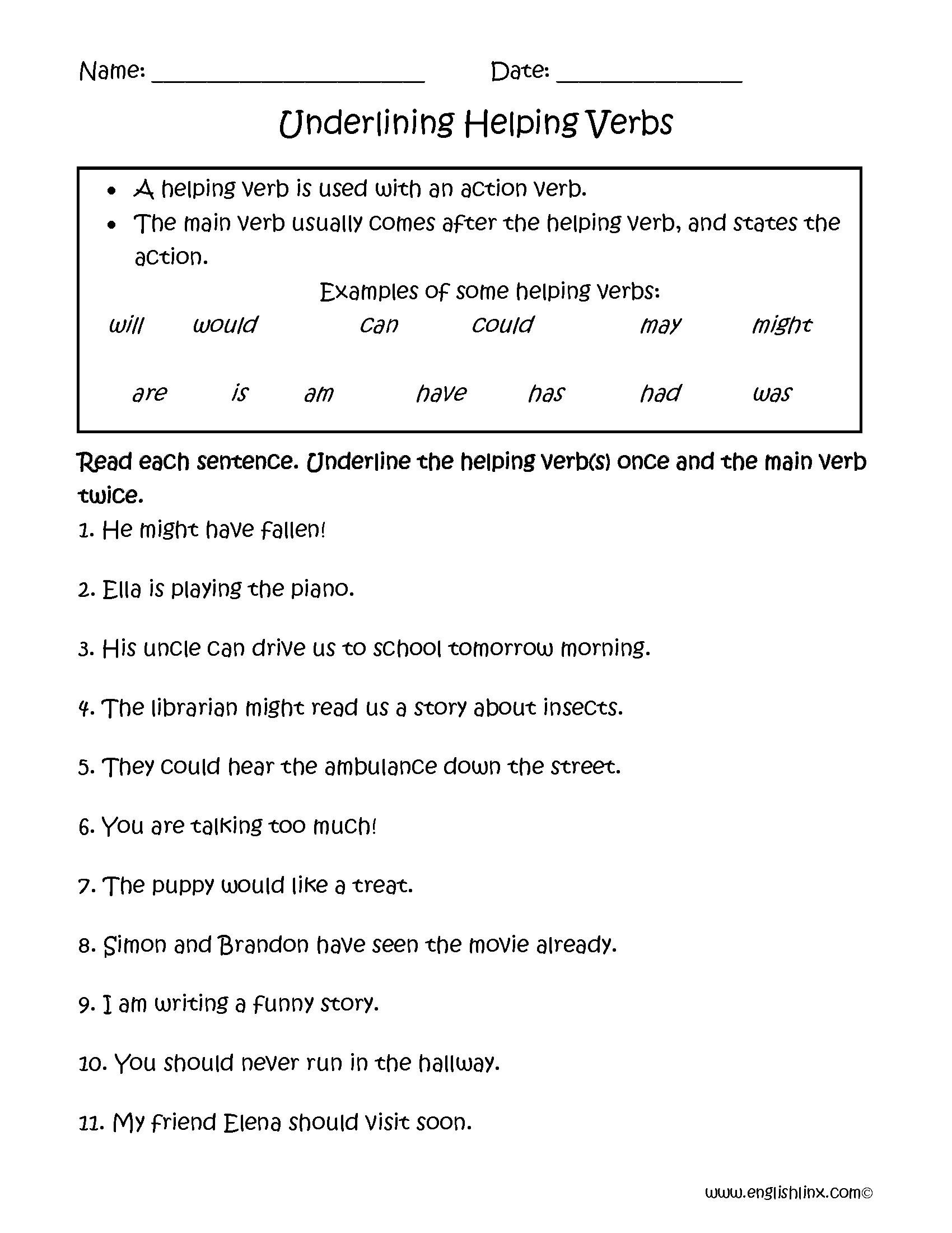 Underlining Helping Verbs Worksheets   Helping verbs [ 2200 x 1700 Pixel ]