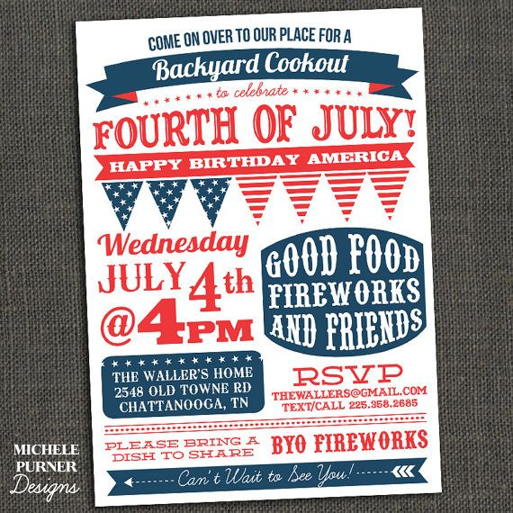 Fourth Of July Party Invitation Bbq Clam Bake Block Fireworks Printable Or Printed For You Church Picnic Pinterest Clams