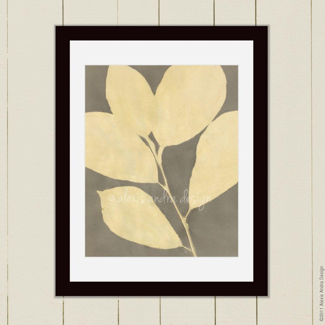 ART SALE 8 x 10 Leaf Painting Art Print 10 - yellow grey tropical ...