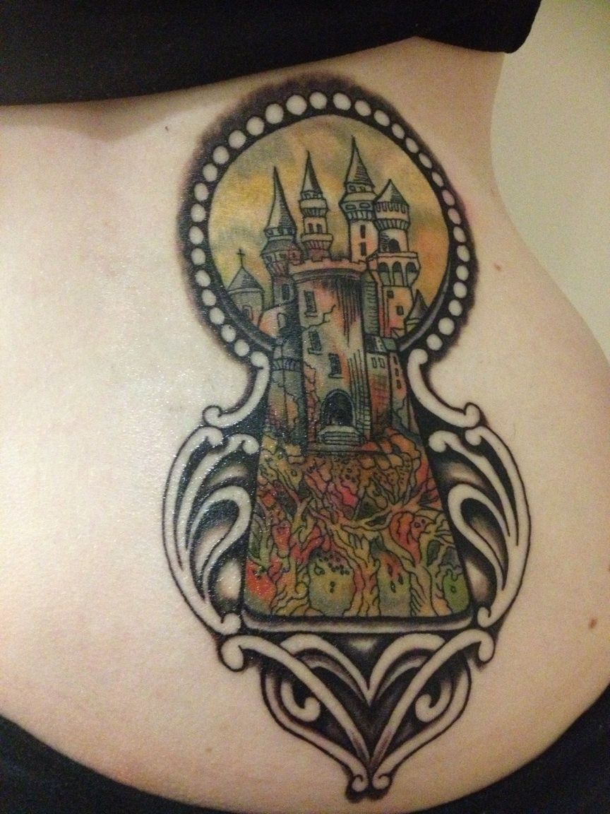 Keyhole Tattoo - inspired by The Kingkiller Chronicles french book cover Tattoo by Kel Tait at Victims of Ink, Melbourne Australia