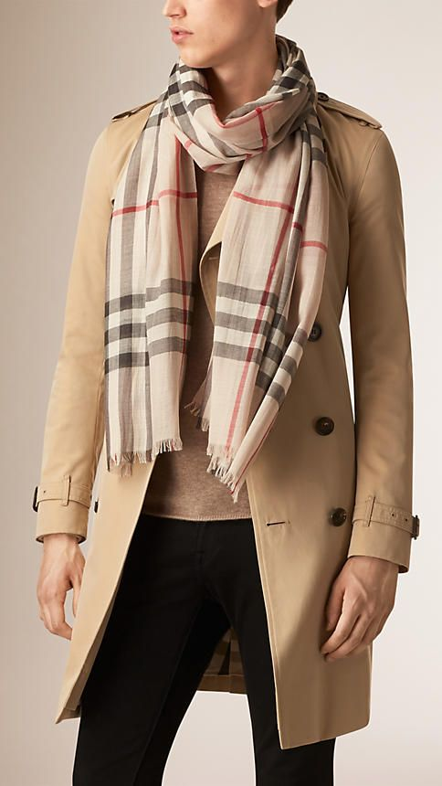 Stone check Lightweight Check Wool and Silk Scarf - Image 3 3516415a92