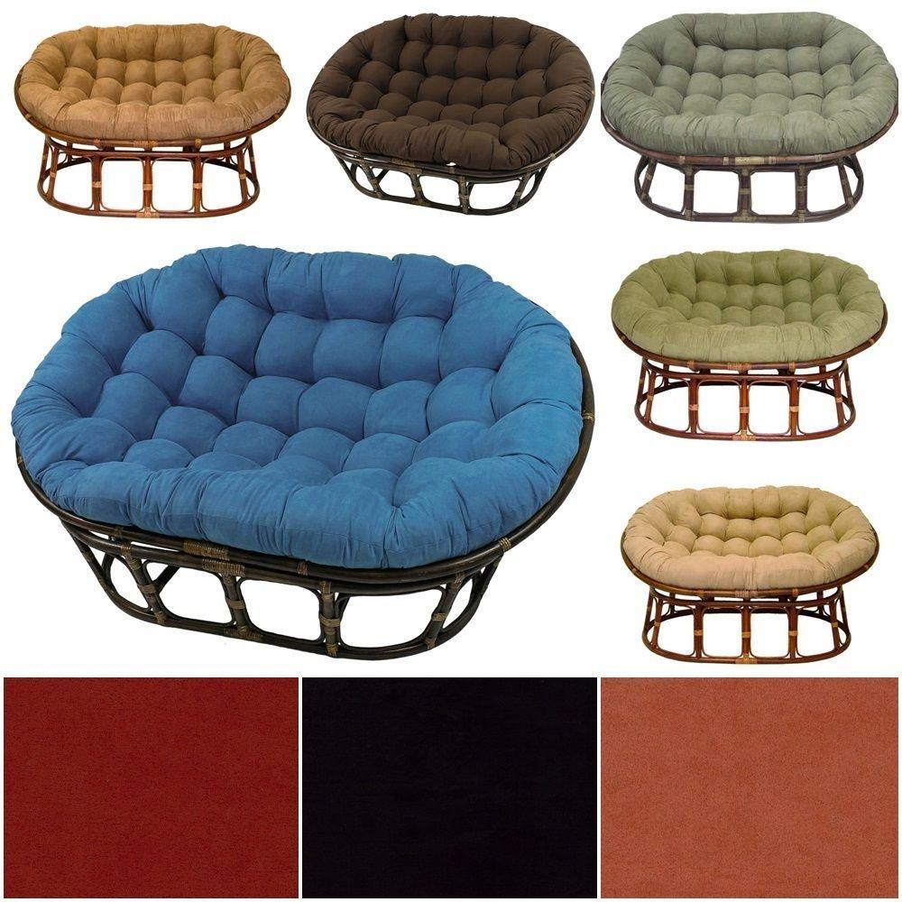 Rattan Double Round Chair Bowl Papasan Sofa Indoor Outdoor MicroSuede  Cushion