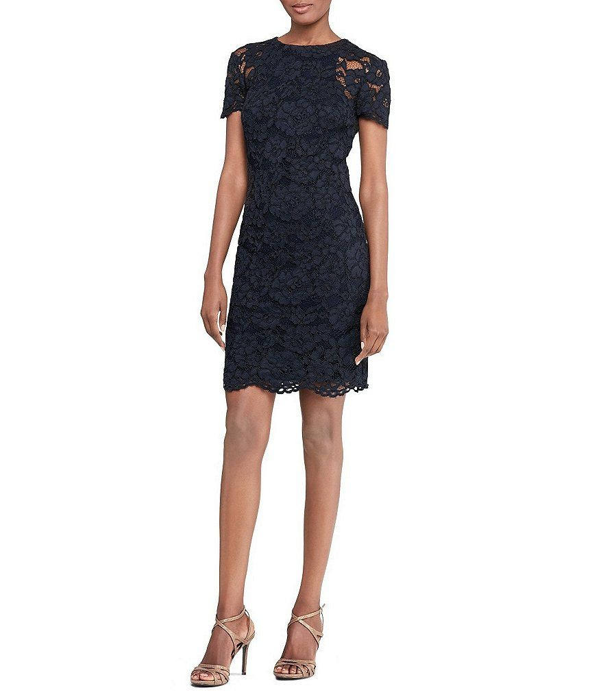 Lauren Ralph Lauren Lace Sheath Short Sleeve Dress | Dillards