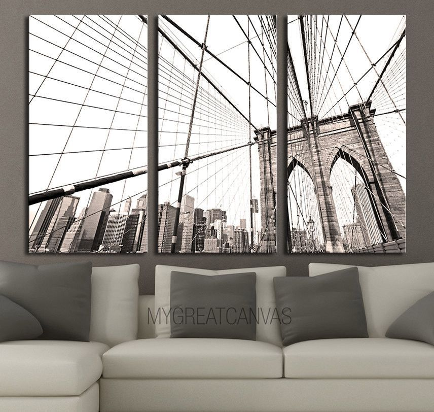 High Lights Of New York Skyline Canvas Wall Art: LARGE Wall Art 3 Panel Canvas Brooklyn Bridge + Ready To