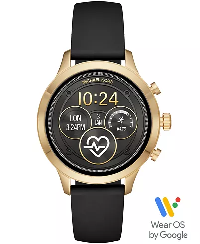 Michael Kors Access Gen 4 Runway Black Silicone Strap Touchscreen Smart Watch 41mm Powered By Wear Os By Google Reviews Watches Jewelry Watches Macy Black Leather