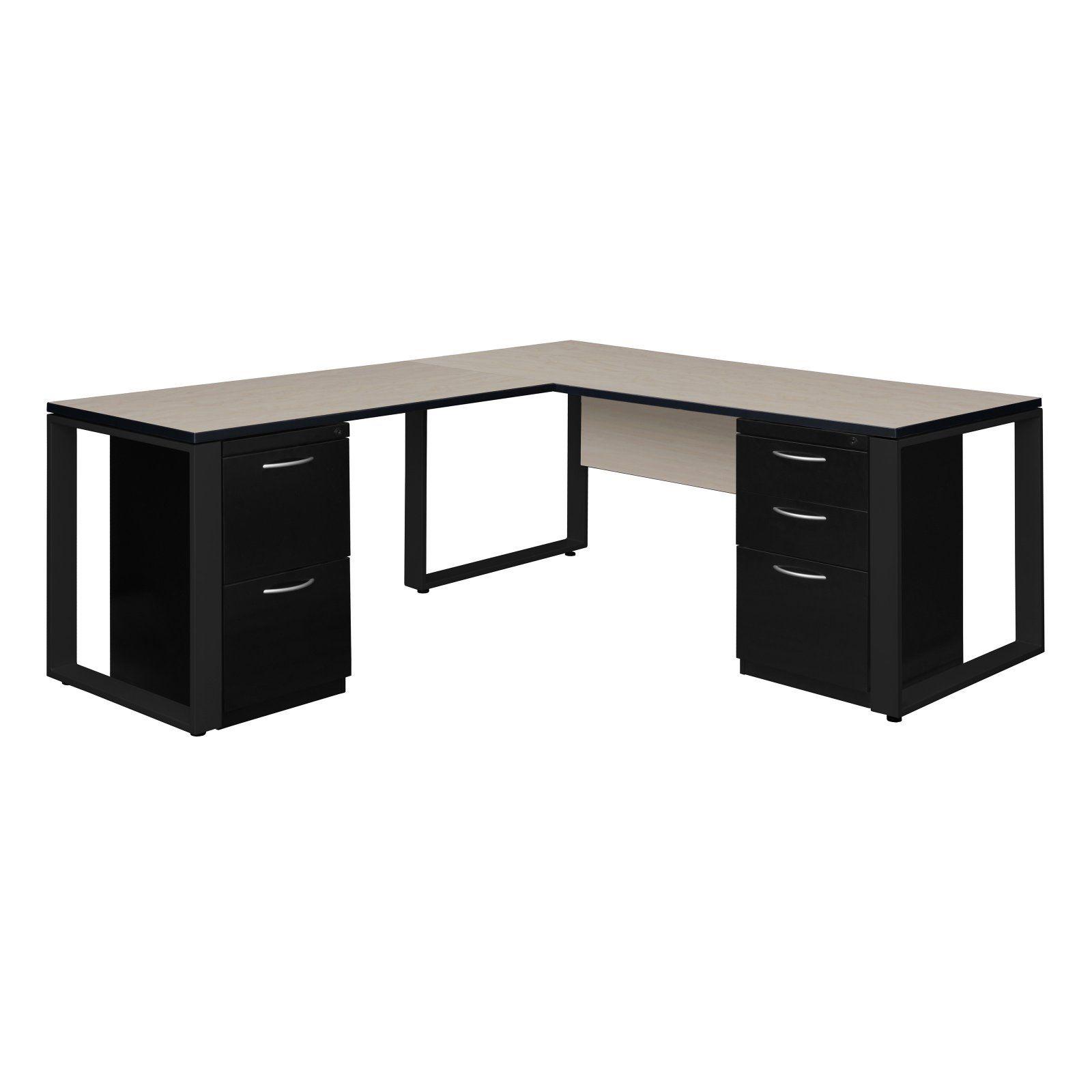 Regency Structure Double Metal Pedestal L Desk With 48 In Return