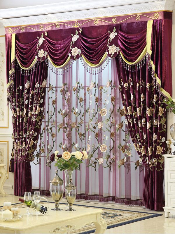 Baltic Embroidered Purple Floral Leaves Waterfall And Swag Valance And  Sheers And Velvet Curtains Pair