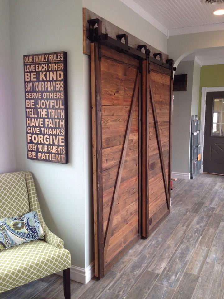 pin by maria santiago on for the home barn door closet bypass barn door barn door hardware. Black Bedroom Furniture Sets. Home Design Ideas