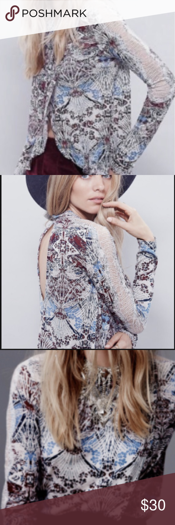 Free People New World jersey nouveau top Long sleeve top with lace details on sleeve, keyhole detail on back and over lapping layers on the front, only worn twice. These are not my pics but I will be uploading mine soon Free People Tops Blouses