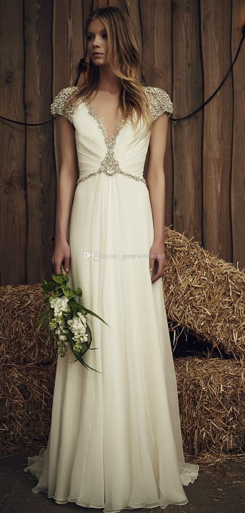 Fancy Crystals Beaded Beach Wedding Dresses Jenney Packham Bridal Gowns Beteau V Neck Neckline Sweep Train