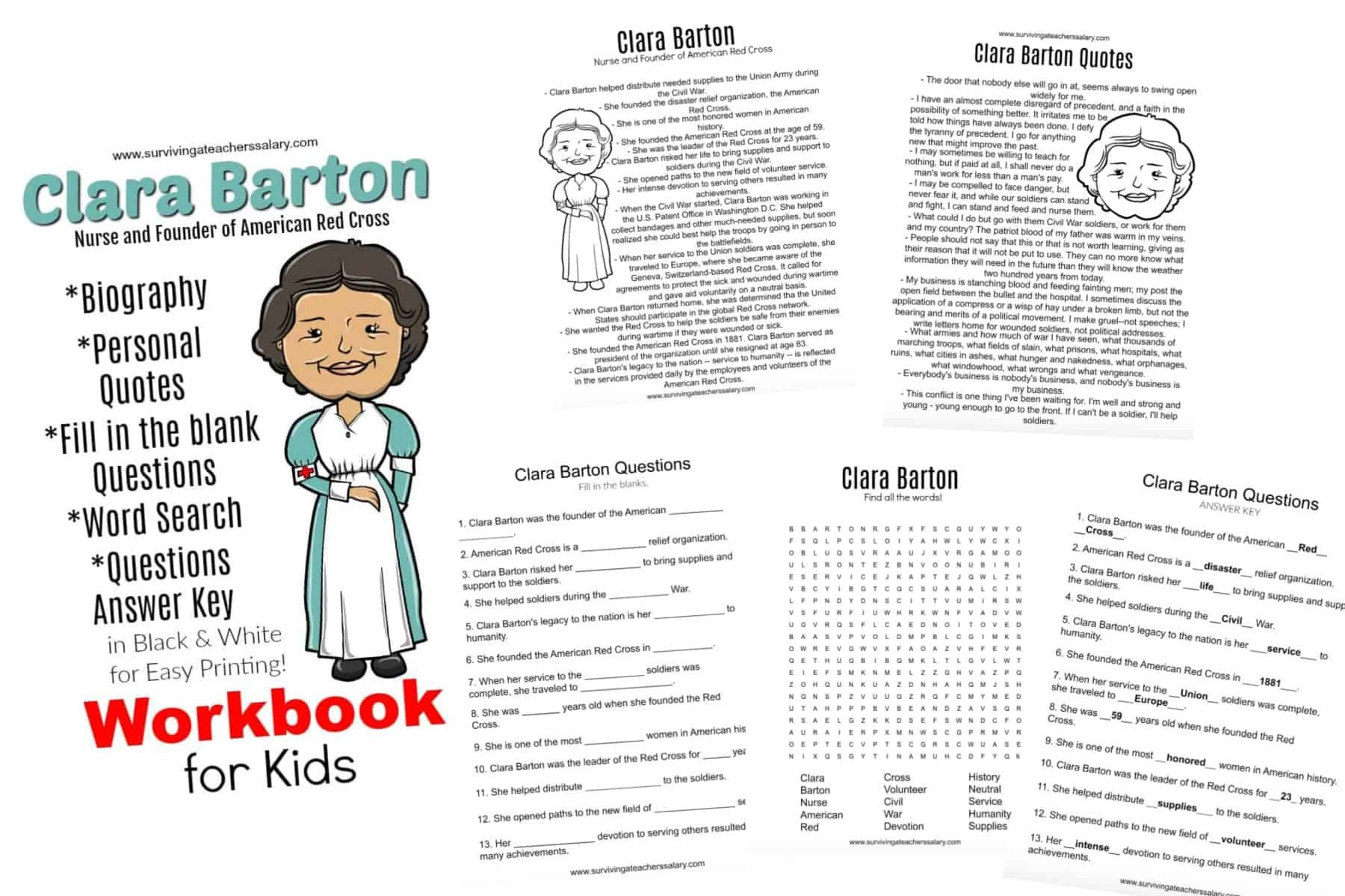 All About Clara Barton Printable Worksheets Amp Activities