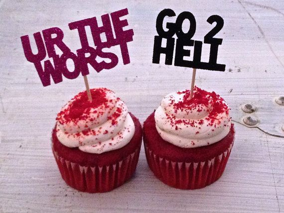 We love these fun Insult Cupcake Toppers for an Anti-Valentines Day party or as a gift to a mean ex ;)   By Hawthorne Ave on Etsy