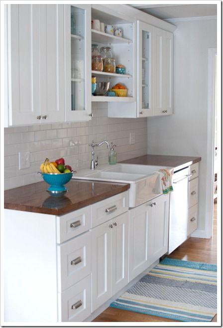 white kitchen, butcher block countertops, subway tile Our Home Home decor kitchen, Kitchen ...