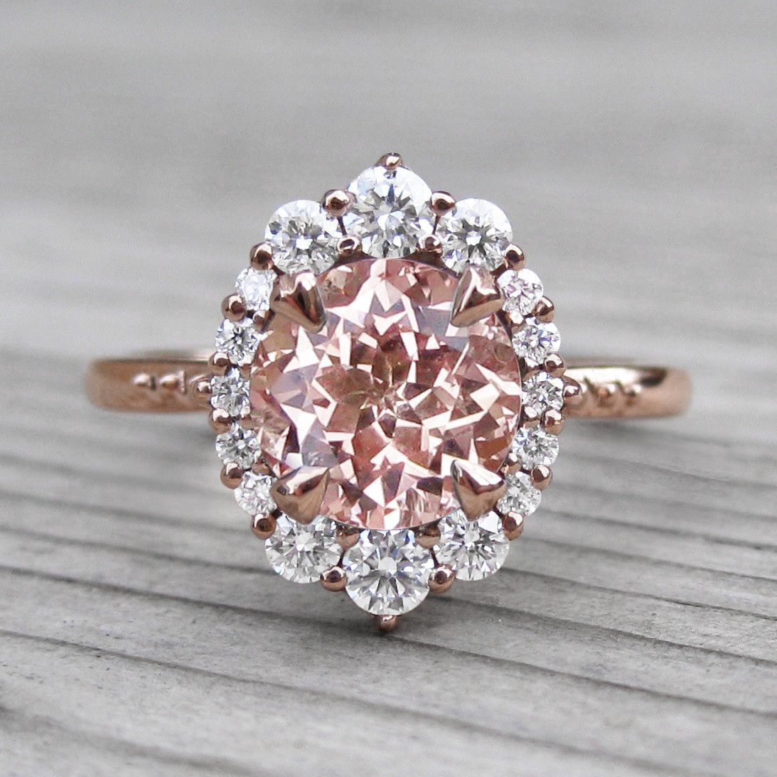 Peach sapphire engagement ring with diamond halo ct halo
