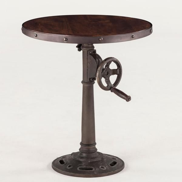 Hoover Mason Crank Side Table is part of Home Accessories Styling Side Tables - Overview Recycled wood and iron fuse together in our Hoover Mason collection to create eclectic pieces of furniture  Crafted exclusively from reclaimed materials, each piece in this unique collection features fine details such as adjustable hand cranks for a vintage look that blends art and function  Materials Reclaimed Neem Wood, Recycled Cast Iron Finish Chestnut Finish, Gray Zinc Adjustable Crank  Go From Side Table Height to Counter Height Dimensions 24 W x 24 D x 28   36 H Origin Handcrafted by Skilled Artisans in India Special Order