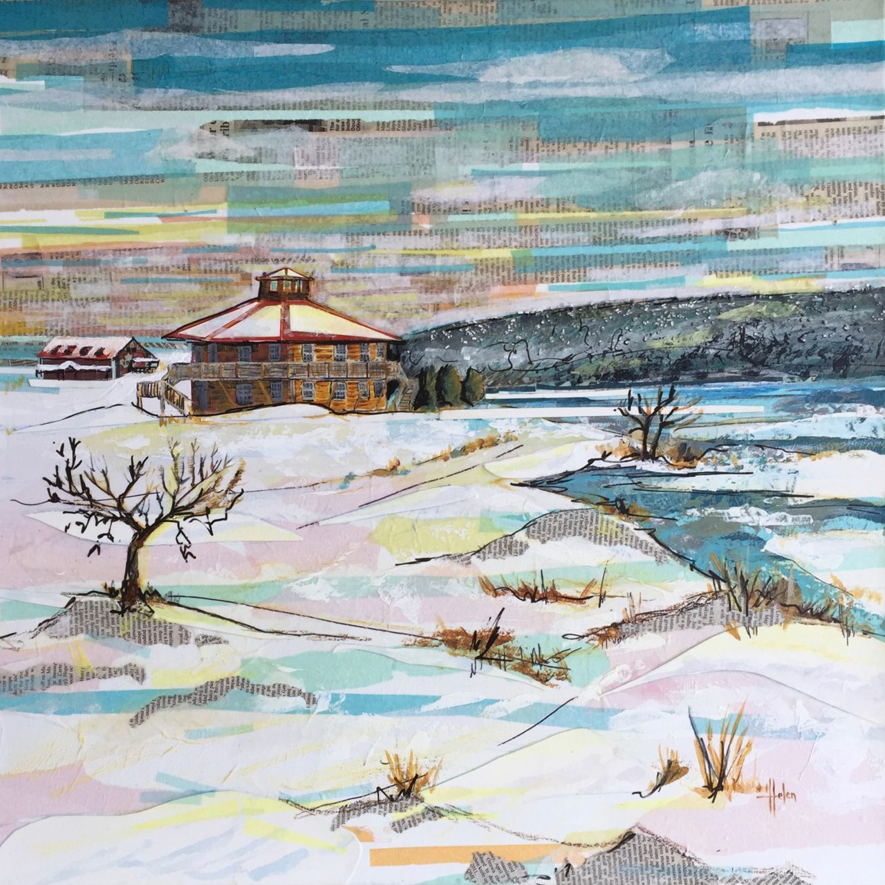 'Christmas Morning' by Helen Siksek, mixed media collage on canvas. | Abstract artwork, Mixed ...