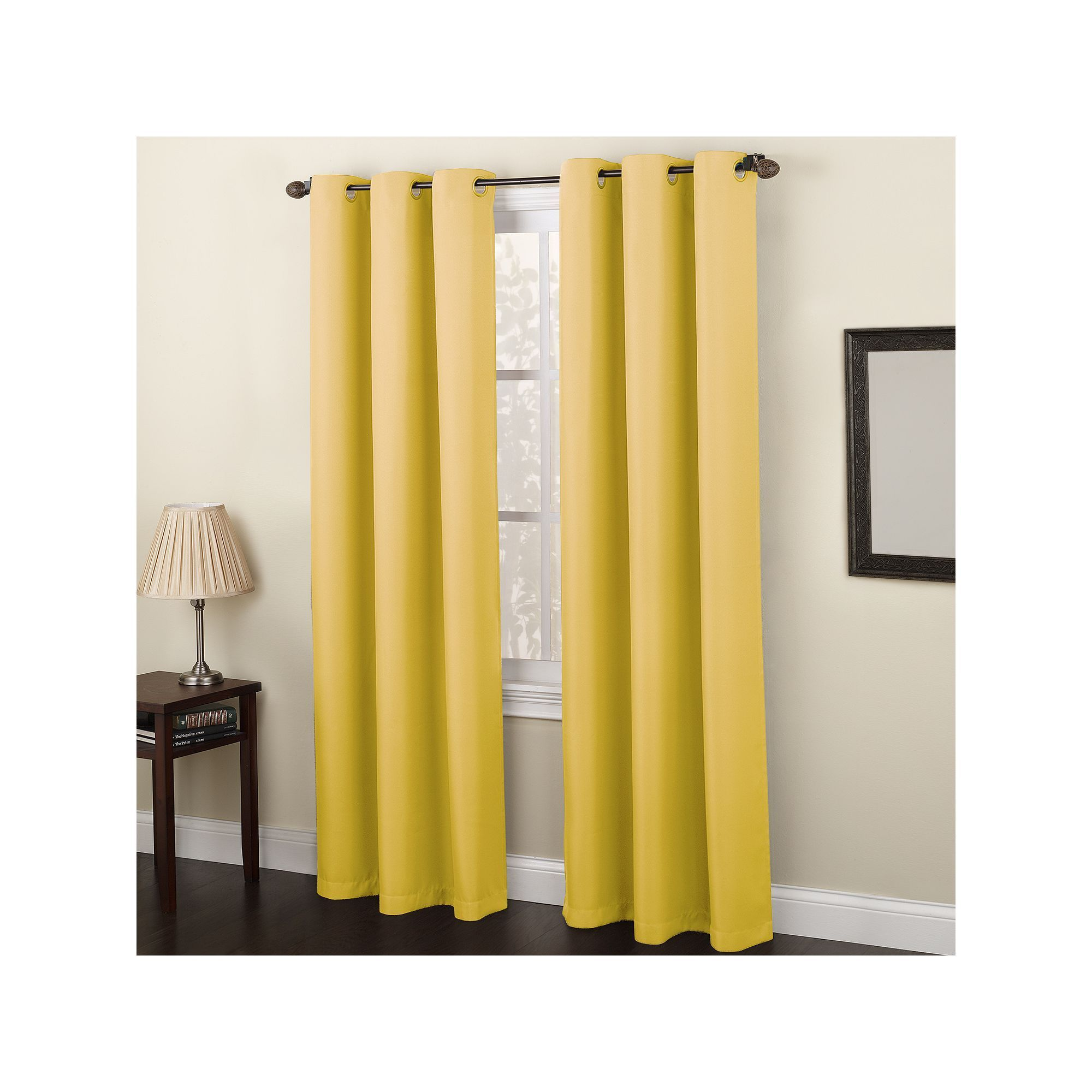 No 918 Montego Casual Textured Grommet Window Curtain Yellow