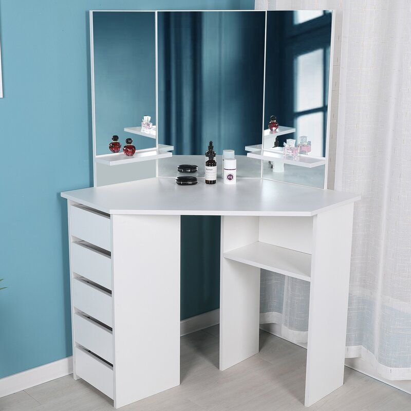 Cormier Corner Makeup Vanity With Mirror In 2020 Corner Makeup Vanity Diy Vanity Mirror Bedroom Vanity