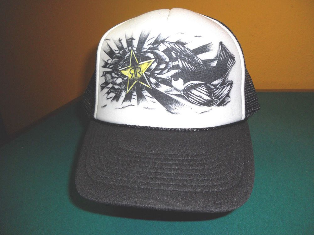 ece2d31bb82 Rockstar Energy Drink mesh trucker snapback Hat Cap missing button on top   fashion  clothing  shoes  accessories  mensaccessories  hats (ebay link)