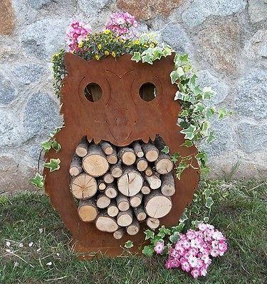 Eule Holz Edelrost Gartendeko Geschenkidee Rost Blech Brennholz Mitbringsel  Deko