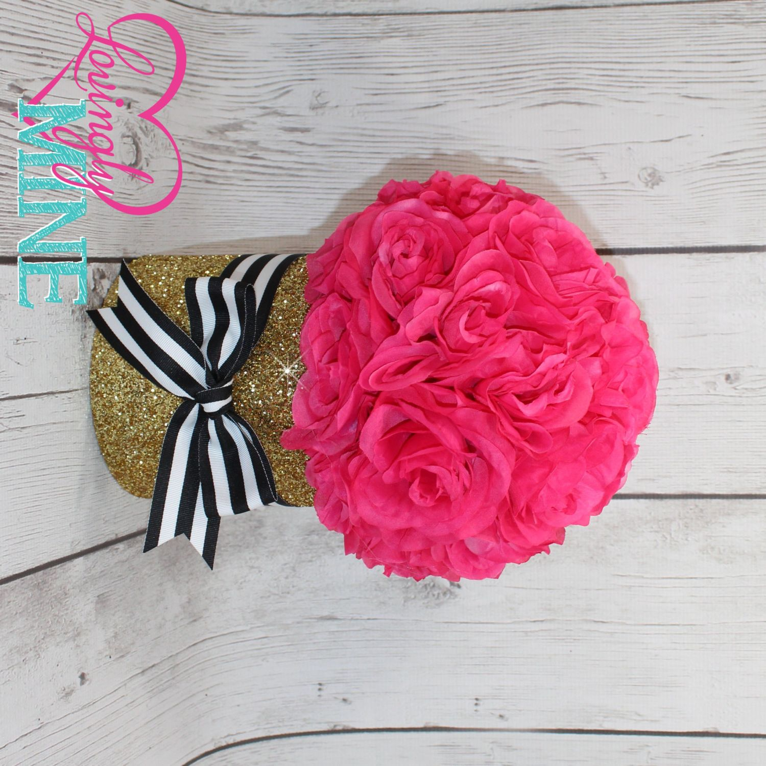 Hot Pink And Black Bedroom Punk Girly: Hot Pink, Black & White Stripes And Glitter Gold