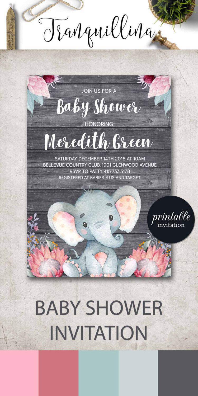Elephant baby shower invitation Girl safari baby shower invitation ...