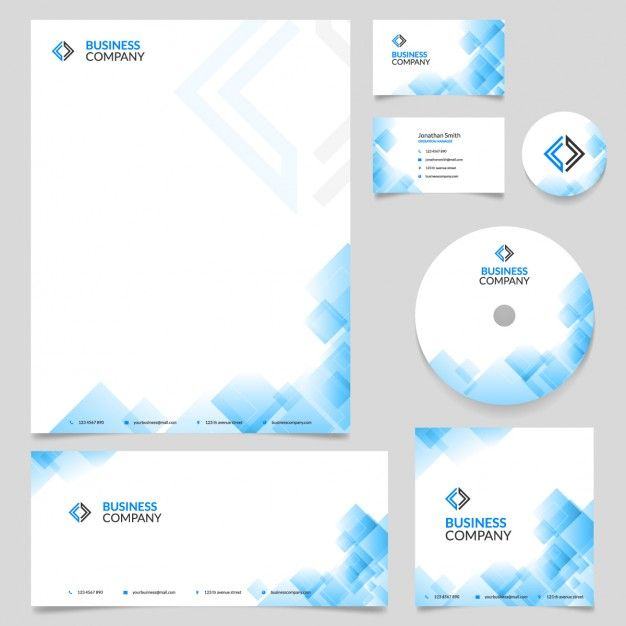 Blue Corporate Stationary Pack By Betty Design: Papelería Empresarial Con Formas Geométricas Azules Vector