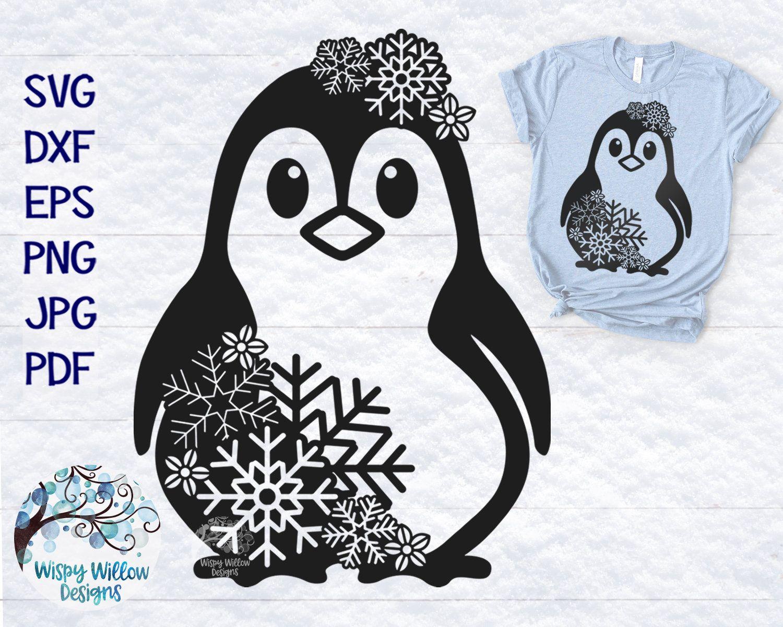 Snowflake Penguin Svg Dxf Png Penguin Mandala Svg Penguin Etsy Winter Svg Christmas Svg Svg