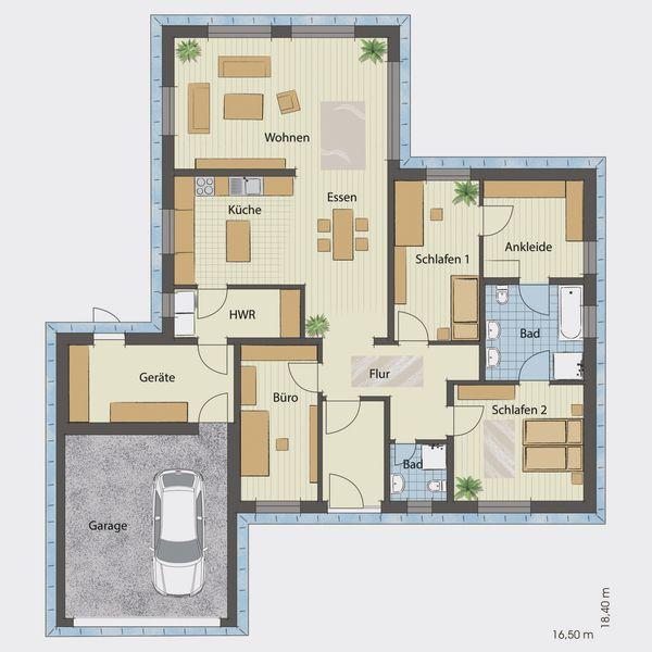 floor plan bungalow 130 with garage