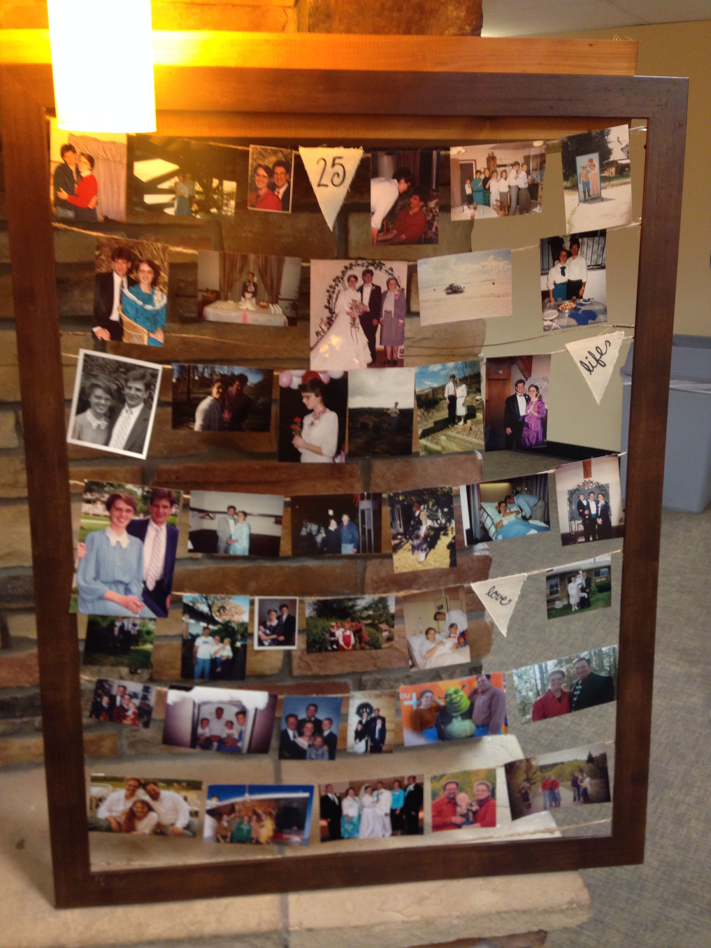 A Timeline Photo Frame With Pictures Of 25 Years Of