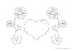 Ausmalbild Blumenranken mit Herz