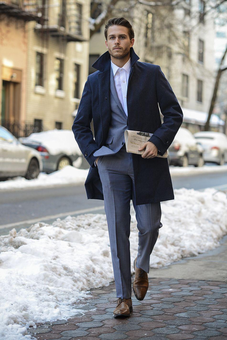 Men's Navy Overcoat, Grey Suit, White Dress Shirt, Brown Leather ...