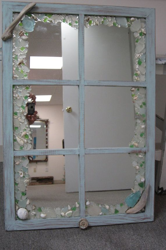 Items similar to Shabby Chic Driftwood and Sea glass Window style mirror on Etsy