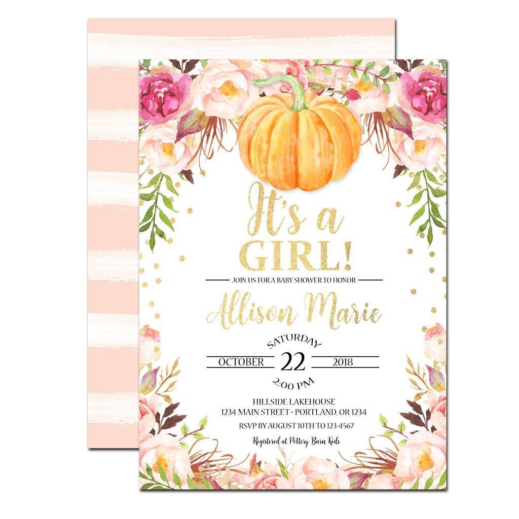 Little Pumpkin Baby Shower Invitation | Pumpkin baby showers and ...