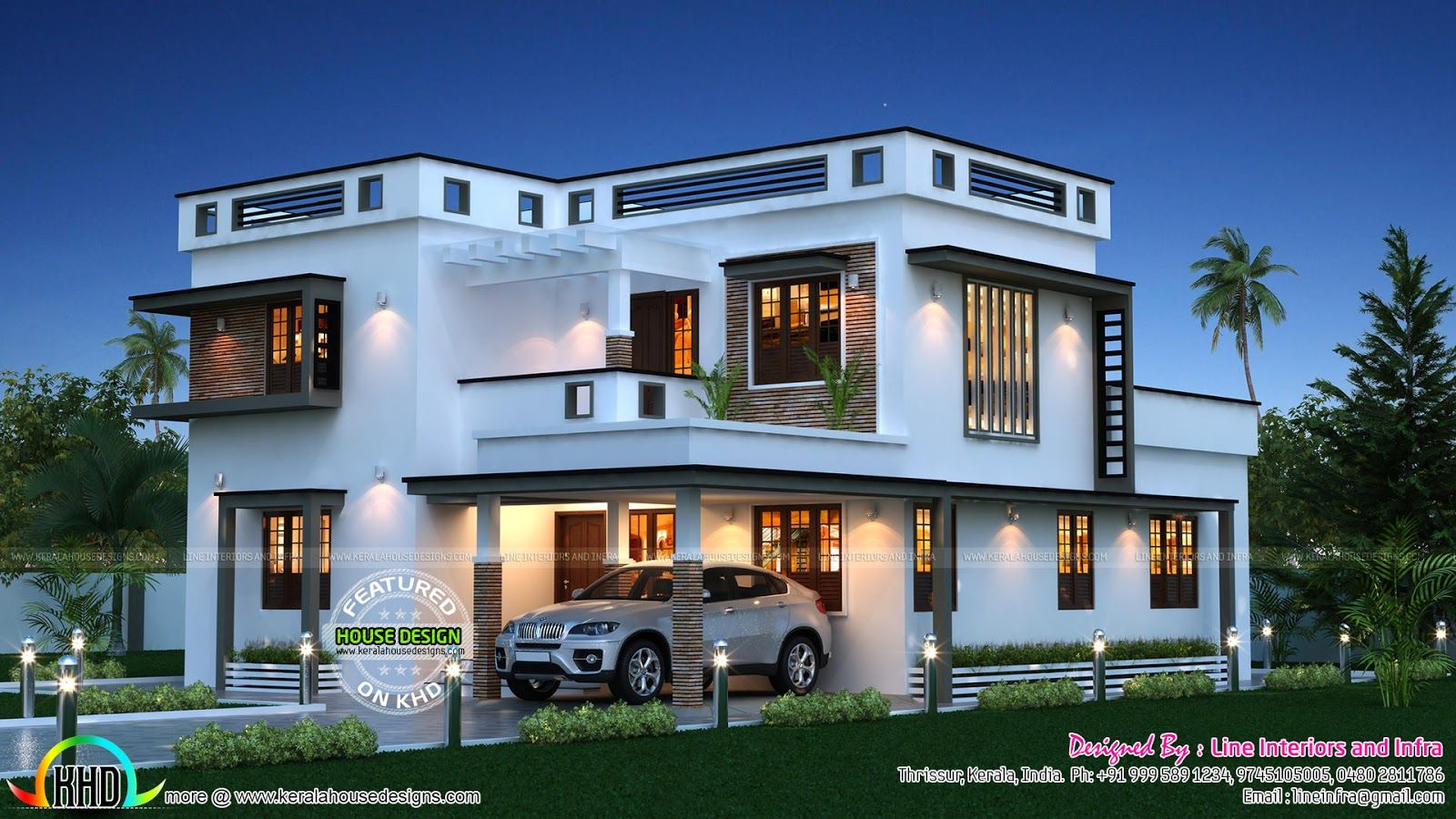 Beautiful sq ft home kerala home design floor plans for Modern big house design